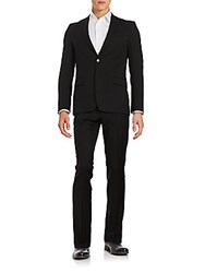 Versace Regular Fit Wool Suit Black
