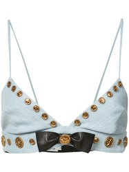 Fausto Puglisi Embellished Bow Bra Women Silk Cotton Polyester Acetate 44 Blue