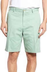 Peter Millar Men's 'Winston' Washed Twill Flat Front Shorts Peninsula Green