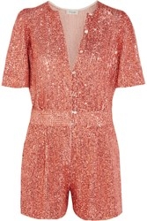 Temperley London Fairy Queen Sequined Tulle Playsuit Coral