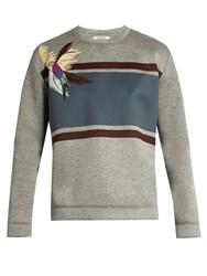 Valentino Parrot Applique Neoprene Sweatshirt Grey Multi