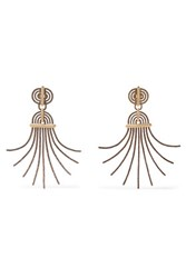 Lanvin Elvira Gold Tone And Pewter Clip Earrings One Size