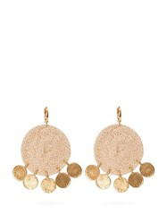 Elise Tsikis Dolna Rope Circle And Gold Plated Drop Earrings Beige