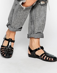 Truffle Collection Truffle Jelly Flat Sandals Black