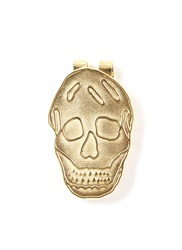 Alexander Mcqueen Engraved Skull Money Clip Metallic
