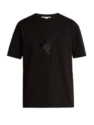 Stella Mccartney Swallow Applique Cotton Jersey T Shirt Black