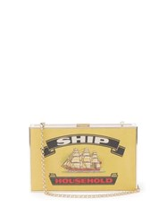 Anya Hindmarch Imperial Ships Matchbox Print Leather Clutch White Multi