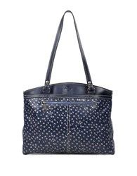 Patricia Nash Denim And Daisies Poopy Leather Tote Bag