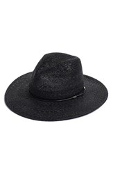 Rag And Bone Women's Rag And Bone Wide Brim Straw Fedora Black