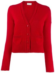 Moncler Rib Knit Trim Cardigan Red