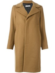 Golden Goose Deluxe Brand Single Breasted Midi Coat Nude And Neutrals