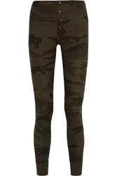 Splendid Camouflage Print Stretch Supima Cotton And Modal Blend Leggings Army Green