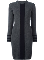Chinti And Parker Vertical Stripe Dress Grey