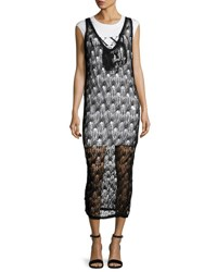 Mcq By Alexander Mcqueen 2 In 1 Sheer Netted V Neck Midi Dress W Jersey Underlay Black