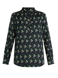 A.P.C. Sally Floral Print Silk Twill Shirt Black Multi