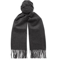 Johnstons Of Elgin Fringed Cashmere Scarf Charcoal