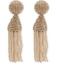 Oscar De La Renta Classic Tassel Clip On Earrings Pebble