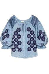 Innika Choo Oliver Daily Embroidered Linen Chambray Top Blue