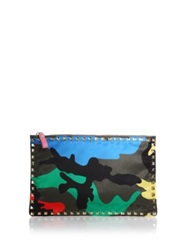 Valentino Rockstud Large Psychedelic Camouflage Nylon Zip Pouch Multi