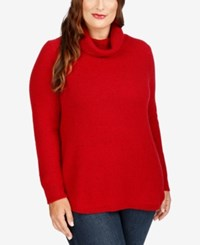 Lucky Brand Trendy Plus Size Turtleneck Sweater Red Multi