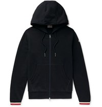 Moncler Maglia Striped Loopback Cotton Jersey Zip Up Hoodie Navy