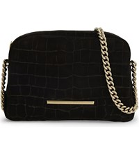 Roland Mouret Bob Croc Embossed Suede Cross Body Black