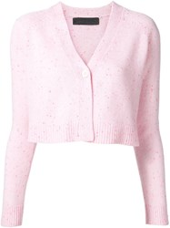 The Elder Statesman Cropped Cardigan Pink And Purple