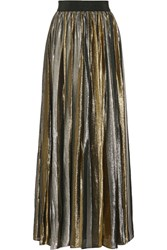 Alice Olivia Tabetha Pleated Silk Blend Lame Maxi Skirt Silver
