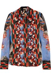 Emilio Pucci Printed Silk Chiffon And Macrame Lace Blouse Red