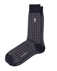 Buffalo Plaid Socks With Logo Dark Yellow Psycho Bunny