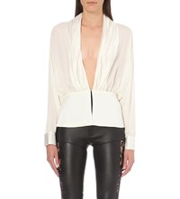 Rodarte Plunge Neck Silk Blouse Off White