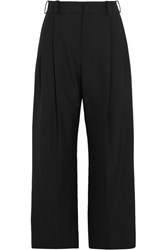 Lanvin Cropped Twill Wide Leg Pants Black