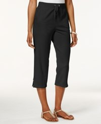 Karen Scott Pull On Side Vent Knit Capri Pants Only At Macy's Deep Black