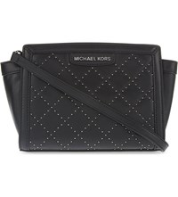 Michael Michael Kors Selma Micro Studded Medium Leather Messenger Bag Black