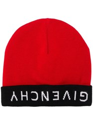 Givenchy Reverse Logo Beanie Red
