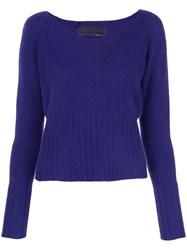 The Elder Statesman Knit Wide V Neck Sweater Blue