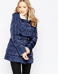 Girls On Film Padded Belted Jacket With Borg Trim Navy