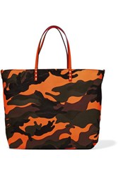 Valentino Reversible Neon Printed Shell Tote Orange