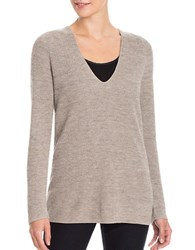 Nic Zoe Plus V Neck Textured Long Sleeve Sweater Beige