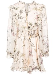 Zimmermann Maples Frill Playsuit Silk Polyester Nude Neutrals