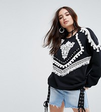 Reclaimed Vintage Inspired Sweatshirt With Layered Trims Black