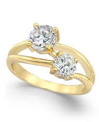 Charter Club Gold Tone Cubic Zirconia Two Stone Ring Only At Macy's