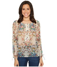 Lucky Brand Sheer Floral Peasant Top Natural Multi Women's Long Sleeve Pullover