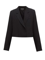 Ann Demeulemeester Cropped Tailored Crepe Jacket Black
