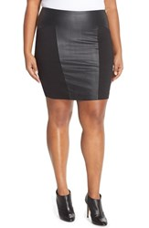 Plus Size Women's Junarose 'Maryette' Faux Leather And Knit Skirt