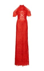 Costarellos Geometrical Guipure Lace Halter Neck Dress Red