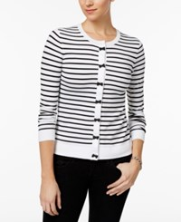 Charter Club Striped Bow Trim Cardigan Only At Macy's Bright White Combo