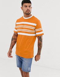 Native Youth T Shirt In Chest Stripe In Orange Yellow