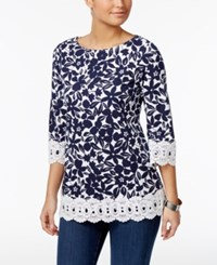 Charter Club Cotton Floral Print Tunic Only At Macy's Bright White Combo