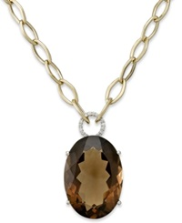 Macy's 14K Gold Necklace Smokey Topaz 52 Ct. T.W. And Diamond 1 6 Ct. T.W. Large Oval Pendant Brown